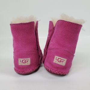 Ugg Baby Girl Valcro Suede Sheep Sherling Boots